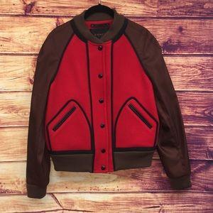 NWT Coach Red Wool Varsity Bomber Jacket